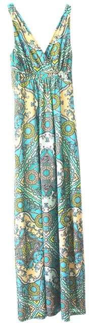 Item - Blue Turquoise Peach Yellow White Long Casual Maxi Dress Size 4 (S)