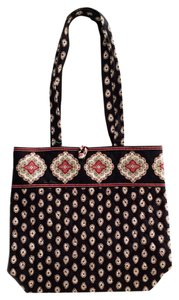 Vera Bradley Handbag School Black Paisley Tote in Black/White/Red