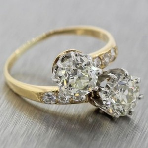 Tiffany & Co. $24500 Vintage Tiffany & Co. 18k Gold 2.96ctw Diamond Bypass Engagement Ring