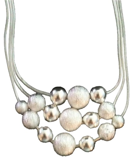 Other Italian Sterling Silver over silver plating Balls Necklace(7mm balls) on Three Strands of 3 chains, One Clasp