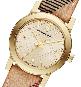 Burberry Burberry Women's Swiss Gold Tone Haymarket Check 26mm Watch BU9219