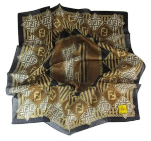Fendi Brown/Gold, 100% Silk, Scarf Foulard