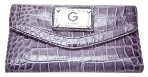 Guess Guess Faux Crocodile Purple Patent Leather Wallet with Rhinestones