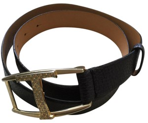 Tod's Tod's 'T' buckle black leather belt