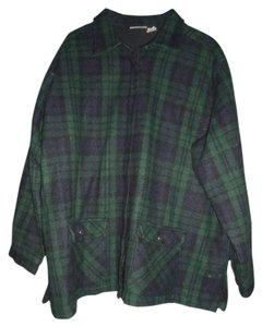 Fashion Bug Wool Blend Plaid Zip Front Navy Blue Hunter Green Black Jacket