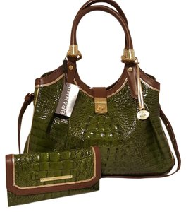Brahmin Elisa Leather Checkbook Wallet Green Hobo Bag