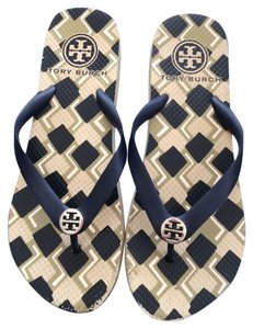 Tory Burch Thin Flip Flops Navy Blue Sandals