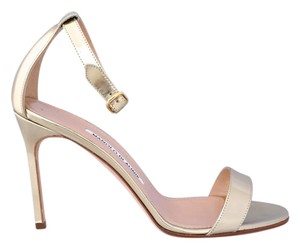 Manolo Blahnik Metallic Sandal Pump Gold Sandals
