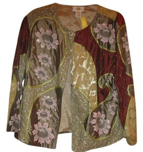 sandy sparkman gold, rust and light green wit sequins Jacket