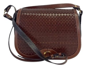 Bally Brown Black Woven Leather Cross Body Bag