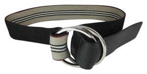 Burberry Khaki Nova Stripe & Metal Logo Buckle, Belt