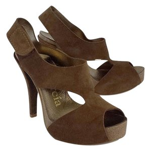 Pedro Garcia Brown Suede Heels Sandals