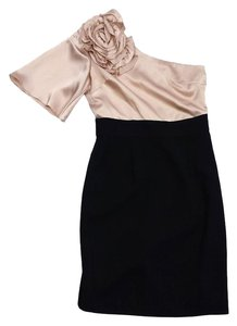 Trina Turk short dress Blush Black Silk One Shoulder on Tradesy