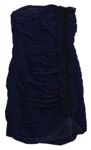 Shoshanna short dress Blue & Black Silk Gathered Strapless on Tradesy