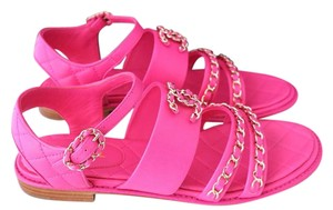 Chanel Chain Flat Sandal Quilted Pink Sandals