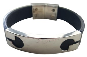 Gucci Gucci Leather & Sterling Silver Bracelet