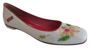 Miss Sixty Perforated Leather Leather Vintage Style White Flats