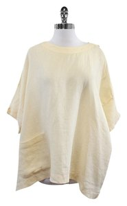 Eskandar Cream Oversized Linen Shirt Sweatshirt