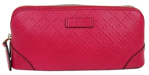 Gucci New Gucci Pink Leather Diamante Zip Up Cosmetic Bag 354503 5614