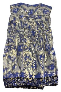 Nicole Miller short dress Blue & Metallic Gold Abstract Strapless on Tradesy