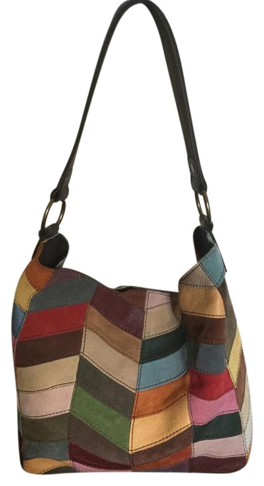 Lucky Brand Leather Suede Patchwork Hobo Bag