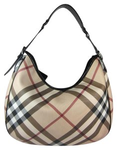 Burberry Khaki Nova Check Leather Shoulder Bag