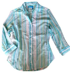 Fresh Produce Sheer Size Small Vacation Beach Top Aqua and blue stripe