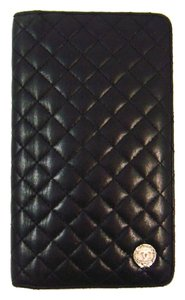 Chanel Micro Matelasse Black Leather Long Clutch Bifold Wallet Italy