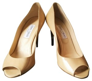 Jimmy Choo Patent Leather Gold London Comfortable Nude, Gold Wedges