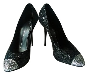 Giuseppe Zanotti Sparkle Formal Pop Hollywood Black With Sliver Capped Toe Pumps