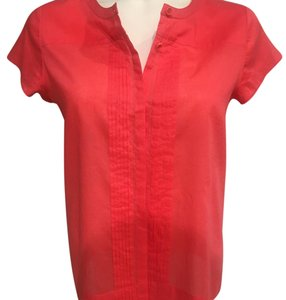 Theory Button Down Cap Sleeves Collarless Top Coral