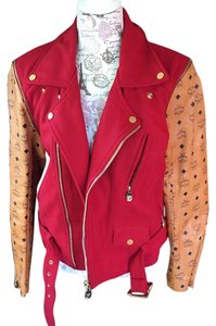 MCM Coat RED/COGNAC Leather Jacket