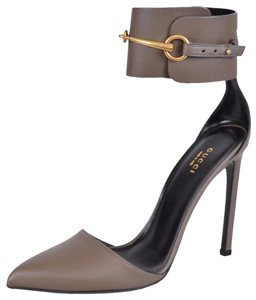 6a06cd8b3018 Gucci Gray Field Horsebit Leather Lifford Ankle Cuff Pumps Size US ...