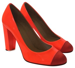 J.Crew Bright tangerine patent, red satin toe. Pumps
