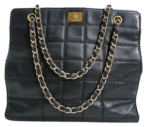 Chanel Lambskin Leather Quilted Chain Handle Tote Shopper Handbag Purse Shoulder Bag