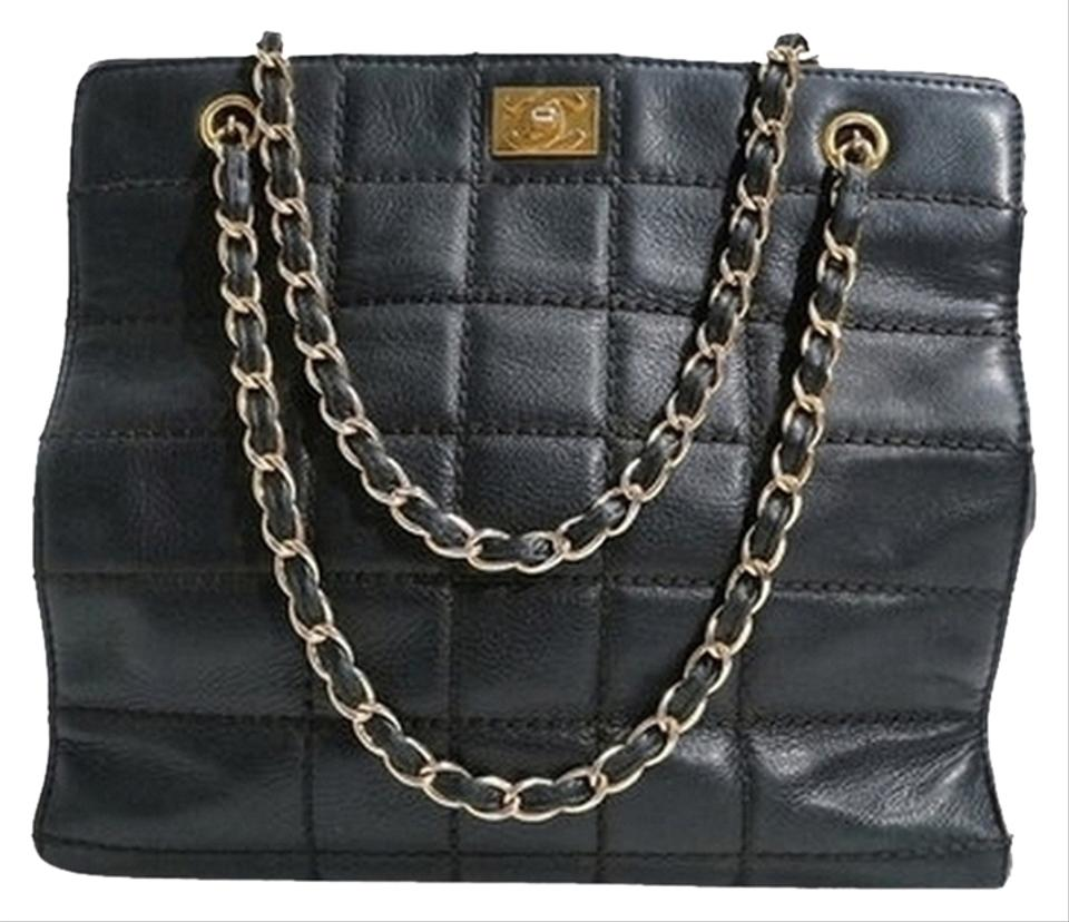 c0e6a26c78 Chanel Leather Chain Handle Tote Shopper Handbag Purse. Black Lambskin  Quilted Shoulder Bag