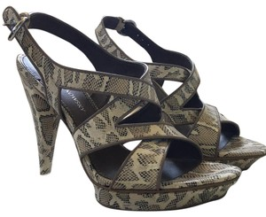 B. Makowsky Taupe snakeskin printed leather Platforms