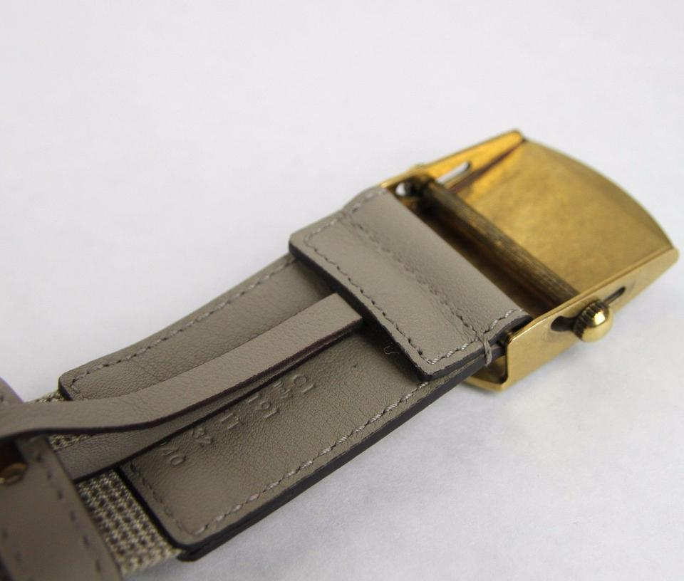 f9b889a8622 Gucci Beige New Fabric Anchor Brass Buckle 90 36 375191 1523 Belt ...