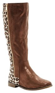 Elegant Footwear Leather Faux Leather Faux Calf Hair Bronze and Animal Print Boots