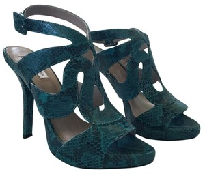 Pour La Victoire Teal genuine snakeskin leather Platforms