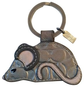 Coach Leather Mouse Key Fob Keychain