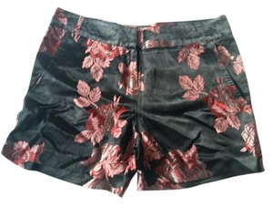 Cousin Earl Rose Print Red Dress Shorts Black
