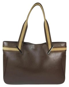 Gucci Leather Brown Logo Tote Shoulder Bag