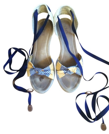 J.Crew Blue and Yellow Wedges