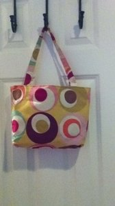 Bad Cowgirl Vintage Fabric Purse Lunch Pool Beach Beach Pool Fabric Geometric Circles Cute Multi-colored Tote in multi