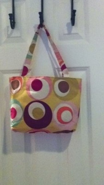 Item - Bag Purse Or Lunch with Pop Of Vintage Color Multicolor Cotton Tote
