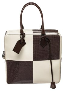 Louis Vuitton Sequined Tote in Brown & White