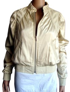 Catherine Malandrino Bomber Ivory Leather Jacket