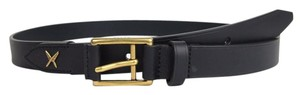 Gucci New Gucci Leather Belt Gold Buckle Feather 95/38 375182 4009