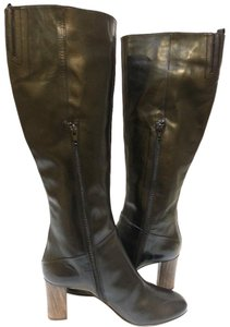 Attilio Giusti Leombruni Tall Riding Glazed-leather Wooden Heel Partial Side Zip Elastic Gussets Black Boots